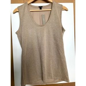 J Crew Sparkle Scoop Tank Tan Gold Metallic Size S